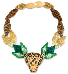 Necklace made with crystal beads (by Embera Chami indigenous women) and handmade metal piece in goldplated brass 24 Karats. Jaguar, Crystal Beads, Crystals, Weaving, Beaded Necklace, Brass, Beadwork, Metal, Handmade