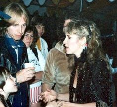 young Tom Petty and Stevie ~ ღ☆❤☆ღ ~ mingling backstage with fans; date unknown