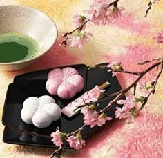 Wagashi is a very sweet and soft candy usually eaten after drinking the green tea. They come in so many shapes and colors. The yoji is the wooden stick used to eat the wagashi.