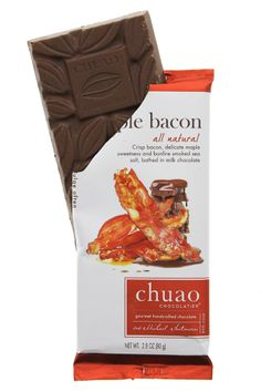 Chuao Chocolatier Maple Bacon Chocolate Bar. Handcrafted with ethically sourced cacao PD