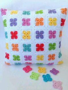 Posts about crochet motifs written by poppyandbliss Crochet Pillow Cases, Crochet Cushion Cover, Crochet Pillow Pattern, Crochet Motifs, Crochet Cushions, Crochet Quilt, Crochet Blocks, Crochet Squares, Crochet Home