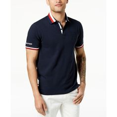 Tommy Hilfiger Men's Jesse Embroidered-Logo Polo ($70) ❤ liked on Polyvore featuring men's fashion, men's clothing, men's shirts, men's polos, sky captai, mens polo shirts, tommy hilfiger mens shirts, mens stretch shirts and mens french cuff shirts