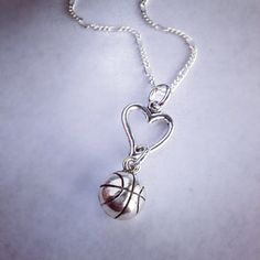 Sporty Girl Basketball Heart Necklace on Etsy, $19.00