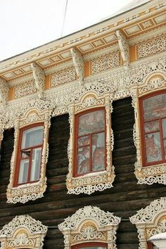 Wooden lace in house in Tomsk, Russia