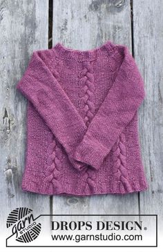 Knitted jumper with cables and raglan for kids. Size 2 - 12 years Piece is knitted in DROPS Air.