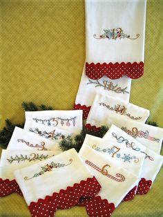 Vintage Embroidery PATTERN - Twelve Days of Christmas Tea Towels CHA416