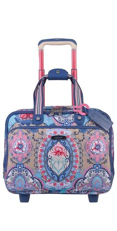 "#Oilily Travel Lotus Office #Bag on Wheels in Blue Main compartment with wide opening for easy access Main zipper can be secured with lock (lock not included) Inside zipper closed main compartment: 1 open pocket with flap and #laptop compartment with flap (size: 15"" x 1.6"" x 11"")"