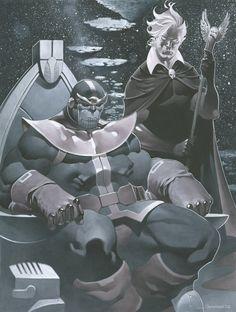 Thanos and Warlock final small - Copic Marker Art Illustration -  by *ChristopherStevens on deviantART