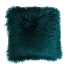 Thro by Marlo Lorenz Keller Reversible Faux Mongolian Square Pillow with Micromink Back Deep Teal, Size: x Teal Throws, Teal Throw Pillows, Decorative Throw Pillows, Fluffy Pillows, Accent Pillows, Teal And Grey, Deep Teal, Teal Blue, Fur Pillow