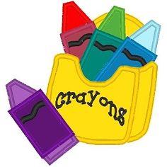 Crayons Applique - 3 Sizes! | Words Applique Machine Embroidery Designs | Machine Embroidery Designs | SWAKembroidery.com