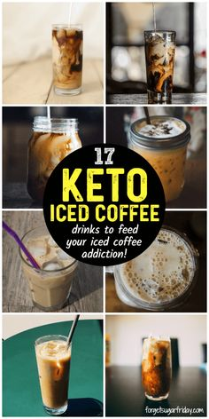The BEST Keto Iced Coffee recipes!! If you LOVE iced coffee, you'll love these 17 super delicious keto iced coffee drink recipes I've rounded up. Choose from iced keto Starbucks drinks (like keto Frappuccinos, keto Cappuccinos, and keto Macchiatos), keto collagen coffee, iced Bulletproof coffee, iced Keto Crack Coffee, and more! If you LOVE coffee on keto and want to cool down while perking up, give these easy keto coffee recipes a try! Starbucks Drinks, Iced Coffee Drinks, Coffee Drink Recipes, Keto Eis, Collagen Coffee, Keto Coffee Recipe, Low Carb Drinks, Diet Drinks, Gastronomia