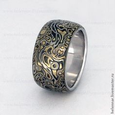 "Кольцо в стиле Мокуме Гане узор ""Галактика"", травление...pinned by ♥ wootandhammy.com, thoughtful jewelry."