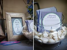 """Advice for parents"" station at nautical themed baby shower"