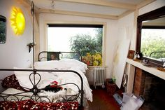 bed, window, fireplace