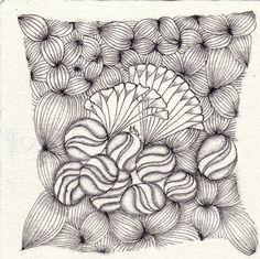 Ein Zentangle aus den Mustern Garlic Cloves, Roids, Sprangle,  gezeichnet von Ela Rieger, CZT