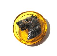 Czech Terrier Button Hand Painted Amber Glass Czech Glass Button One (1) Czech Glass Dog Terrier Vintage Button Jewelry Supplies (A76) by punksrus on Etsy