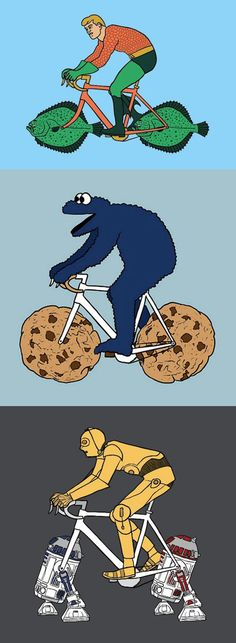 Superhéroes y villanos: abrazos y bicicletas.