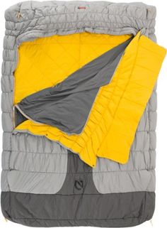 Bringing the comforts of home to your campsite, NEMO Symphony Duo 25 double sleeping bag has a soft integrated bed sheet, silky synthetic comforter and lots of room for 2 people to sleep comfortably. Available at REI, 100% Satisfaction Guaranteed.