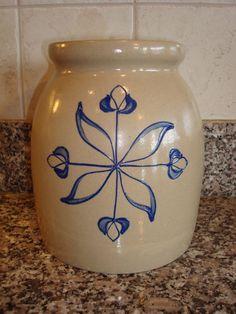 Vintage grey and blue salt glazed pottery crock