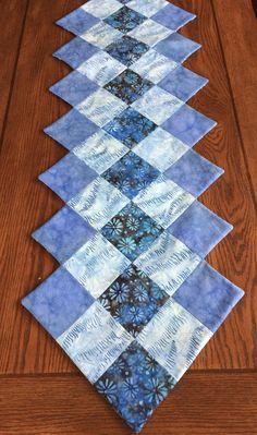 Sky Blue Batik Table Runner - by AlidanCreations on Etsy