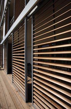 Exterior Blinds, Exterior Cladding, Timber Cladding, Outdoor Shutters, Outdoor Pergola, Casa Patio, Solar Shades, Facade Design, Facade Architecture