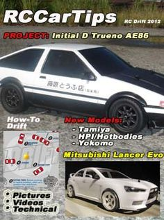 Project: Intial D Trueno rc drift car. How-To drift tutorial. New models from Tamiya, HPI, HotBodies and Yokomo. Photos, videos, and technical information about radio control rc drift cars. Mitsubishi Lancer, Lancer Evo, Rc Remote, Remote Control Cars, Ae86, Rc Track, Rc Drift Cars, Rc Cars And Trucks, Evo X