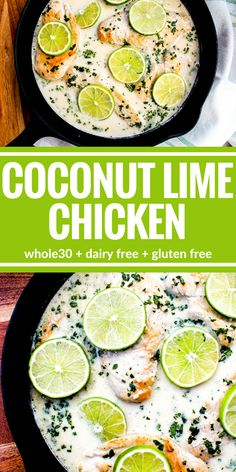Coconut Lime Chicken is dairy free and oh so good. You'll really love this creamy sauce! It's also Whole30 and gluten free!