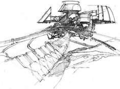 Syd Mead - Industrial concept, pen on paper