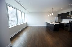 Open Concept Modern kitchen from our 780 square foot, One Bedroom, One Bath, Luxury Loft @10 Lafayette Square, Buffalo, NY.