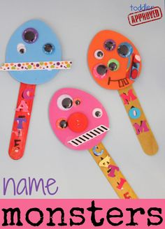 Name Monster Puppets ~ Toddler Approved Monster Activities, Monster Crafts, Toddler Activities, Preschool Activities, Summer Activities, Toddler Fun, Toddler Crafts, Diy Crafts For Kids, Fun Crafts