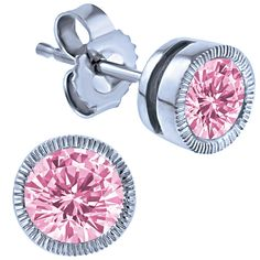 Pink Sapphire, 14k White Gold Earrings