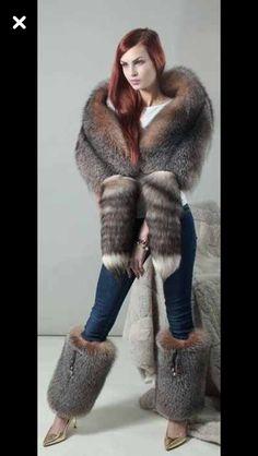 Amber Frost fox fur wrap stole or leg warmers. Fur Fashion, Womens Fashion, Fur Accessories, Fur Wrap, Fabulous Furs, Fur Stole, Fur Boots, Collar And Cuff, Fox Fur