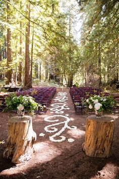 elegant and fancy forest wedding ceremony #forestwedding