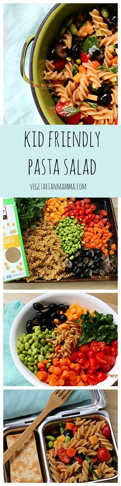 Gluten Free Kid Friendly Pasta Salad is a perfect lunchbox ideas for kids and is easy to meal prep for the week ahead! Vegetarian Pasta Salad, Pasta Salad For Kids, Salads For Kids, Vegetarian Side Dishes, Pasta Salad Recipes, Vegetarian Recipes, Healthy Recipes, Delicious Recipes, Savoury Recipes