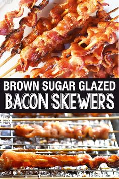 Bacon skewers are a tasty appetizer that is sure to please any bacon lover! These are a great treat to make for holiday entertaining. Bacon skewers are perfect for serving at parties or at any meal where you want bacon (which is every meal, right? Brown Sugar Bacon, Brown Sugar Glaze, Bacon Appetizers, Appetizer Recipes, Holiday Appetizers, Quick Appetizers, Recipes Dinner, Candied Bacon, Bacon Bacon