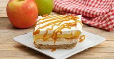 Dessert lasagna is all the rage and caramel apples are my absolute fave at the fair, I just wish they wouldn't hurt my teeth when I'm biting them! Soft and creamy cheesecake center with a layer of apple pie filling and smothered in cool whip, all resting on