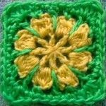 Free Pattern: Riley Flower Square Motif - included in the ten free patterns for yarn that's 10 yards or less. Actually not a bad idea to use up scraps of yarn as I go..at the end of a project and toss them in a basket make into a rug when there's enough...good side project.
