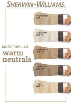 Have you ever wondered which Sherwin-Williams warm neutral paint colors are the most popular? These beautiful hues all make the list. Tap this pin to find the right color for your next DIY painting project. #sherwinwilliams #asksherwinwilliams #paintinspiration #paint #diy #neutral #warmneutrals