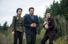 """From left, Diana Bang, Seth Rogen and James Franco in """"The Interview."""" - Ed Araquel/Columbia Pictures, via Associated Press"""