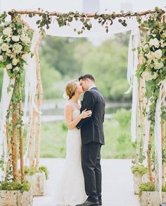 Birch Chuppah, eucalyptus, organic, ceremony structure, greenery | The Flower Firm, Chicago, IL
