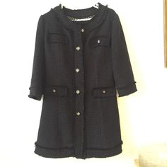 Chanel style mid thought length jacket This classic and chic Chanel style blazer has beautiful flecks of gold thread throughout and embellished buttons making it perfect to go over your little black dress or with jeans and a tank top! Fits a size 10 Jackets & Coats Blazers