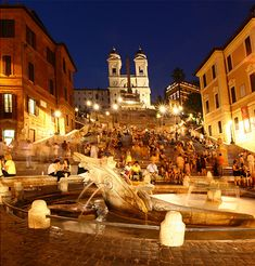Rome | The city of Rome is filled with world-famous historic sites.Spanish Steps-named for the Spanish Embassy that once was located here in 1700's. Beautiful at night