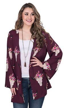 Peach Love Women's Burgundy with Pink Floral Steer Head Print Long Sleeve Kimono | Cavender's