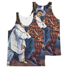 Vintage Art, Pierrot and Harlequin by Cezanne All-Over Print Tank Top Tank Tops