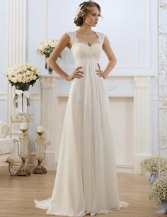 Don's Bridal A Line Bride Dress Sweetheart Neck Sweep Train Chiffon And Satin Vintage Wedding Dresses