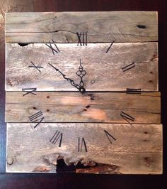 Part 2: Pallets to Picture Perfect. Lots of ideas of what to make with pallet wood. Love this rustic wood clock