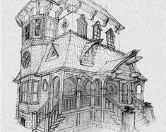Fantasy Architecture - drawings of places that only exist in my imagination! This gothic / Victorian house was drawn in pencil on tinted paper. Renaissance Architecture, Victorian Architecture, Fantasy City, Fantasy Women, Architecture Drawings, Architecture Details, Victorian Gothic, Victorian Homes, Houses