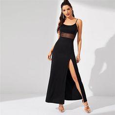 Womens Cami Sleeveless Front Double Split Strappy Bodycon Ladies Long Maxi Dress