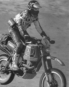 Serge Bacou racing at the 1981 Paris Dakar on his Yamaha XT500