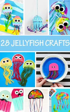 Jellyfish crafts for kids to make as part of an under the sea or ocean animal study unit. J is for jellyfish - letter of the week lesson and craft. Summer Crafts For Toddlers, Crafts For Kids To Make, Craft Activities For Kids, Summer Kids, Toddler Crafts, Preschool Crafts, Kids Crafts, Craft Ideas, Toddler Art